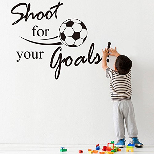 Soccer Ball Wall Stickers (AIMTOPPY New Shoot For Your Goals Football Soccer Removable Decal Wall Sticker Home Decor)