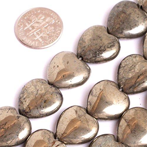 Pyrite Beads for Jewelry Making Natural Semi Precious Gemstone 16mm Heart Strand 15