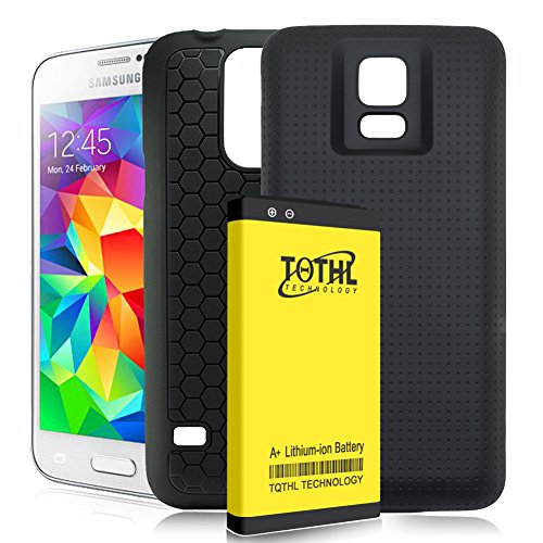 TQTHL Galaxy S5 Extended Battery | 6800mAh Extended Battery with Exclusive Hard Black Cover & Protective Case for Samsung Galaxy S5 (Up to 2X Extra Battery Power)-Black [ 24 Month Warranty ]