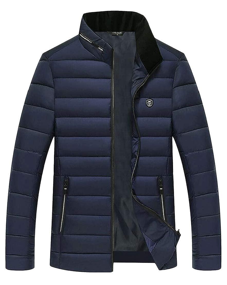 Generic Mens Winter Outdoor Quilted Warm Stand Collar Slim Down Jacket Coat