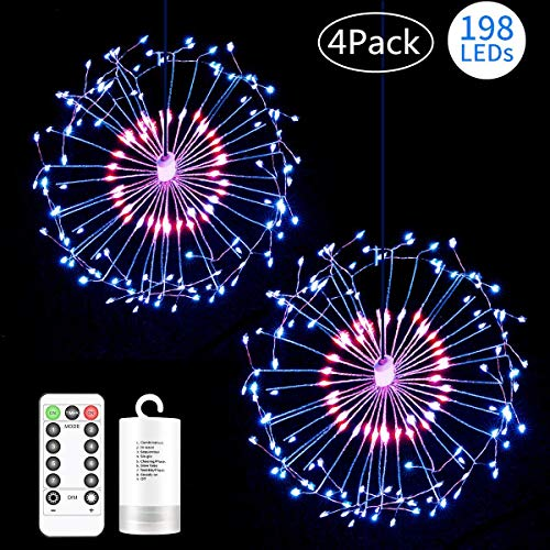 4 Pack Copper Fireworks Lights,198 LED 8 Modes Dimmable Dandelion String Lights,Battery Operated Hanging Starburst Light with Remote Control,Decorative Copper Wire Lights for Home,Patio,Outdoor