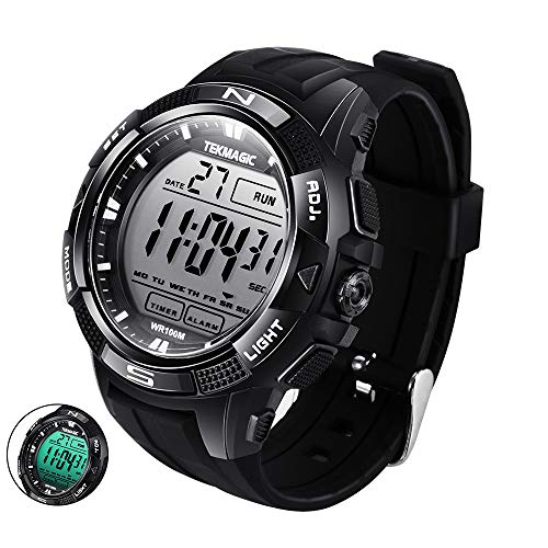 (TEKMAGIC Digital Watch 100m Underwater Waterproof for Swimming Diving with Stopwatch, 12/24 Hour Format, Dual Time Zone, Alarm)