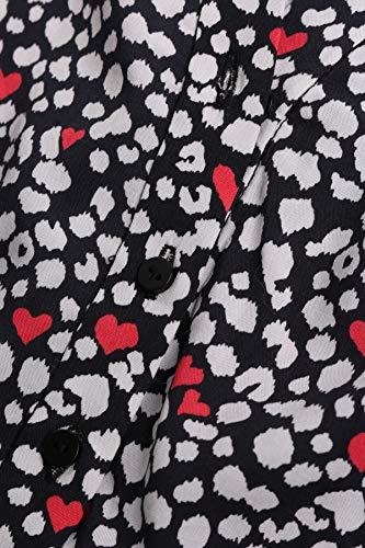 bloom aus Print Mehrfarbig Leo Viskose Hemdblusenkleid mit Herz 1SnB8qr1w5