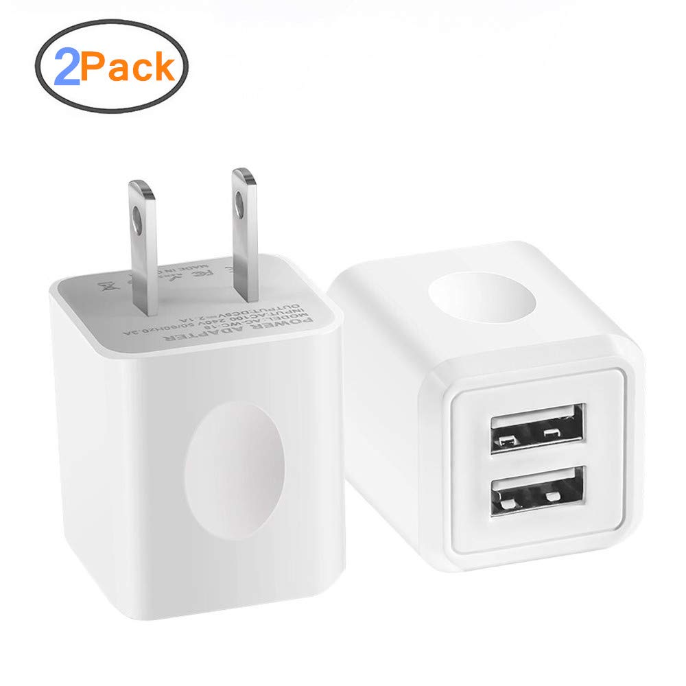 USB Wall Charger, 2-Pack 2.1A/5V Dual Port USB Plug Power Adapter Charging Cube Compatible iPhone X 8/7/6 Plus SE/5S/4S,iPad, iPod, Samsung, Android Phone -White