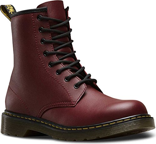 Dr. Martens Children's Delaney 8 Eye Side Zip Boot,Cherry Red Softy T,UK 4 M (Dr Martens 4 Eye)