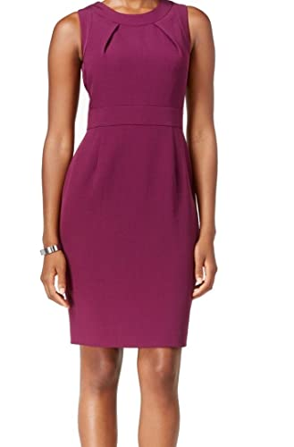 Kasper Womens Pleat-Neck Solid Crepe Sheath Dress Purple 10