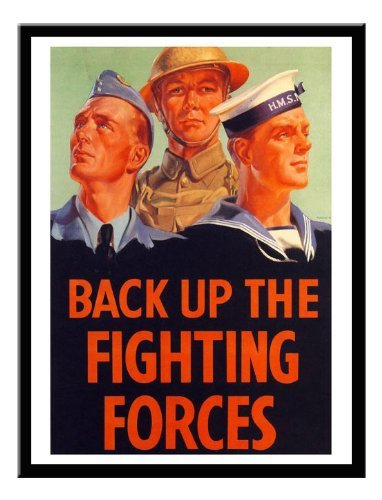 Iposters Back Up The Fighting Forces War Print 1940s Magnetic Memo Board Black Framed - 41 X 31 Cms (approx 16 X 12 Inches)