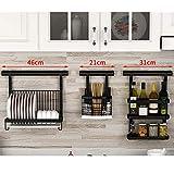 HUO Punch-Free Kitchen Racks Wall-Mounted Folding Dish Rack Knife Holder Seasoning Storage Rack Combination (Color : C)