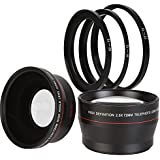 BlueTech 2.5x Telephoto + 0.43x Wide Angle w/ Macro Close-Up Attachment Conversion Lenses (Compatible With 62mm, 67mm, 72mm, 77mm Lens Thread) For Canon, Carl Zeiss, Fuji, Fujifilm, Nikon, Panasonic, Pentax, Olympus, Samsung, Sony, Sigma, Tamron, Tokina, Lens