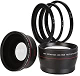 BlueTech 2.5x Telephoto + 0.43x Wide Angle w/ Macro Close-Up Attachment Conversion Lenses (Compatible With 62mm, 67mm, 72mm, 77mm Lens Thread) For Canon, Carl Zeiss, Fuji, Fujifilm, Nikon, Panasonic, Pentax, Olympus, Samsung, Sony, Sigma, Tamron, Tokina,