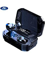 2020 Newest LED Display Bluetooth 5.0 Earphones with 125H Playtime IPX7 Waterproof and 6D Stereo Sound Built-in Mic with 3300mAh Charging Case (Black)