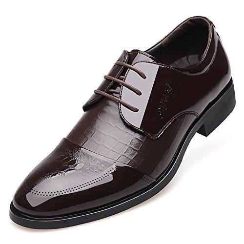 DYF Gli uomini scarpe nudo Business Office tuta normale fascetta Sharp fondo piatto,Black,44