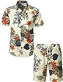 JOGAL Men's Flower Casual Button Down Short Sleeve Hawaiian Suits X-Large A334TZ White