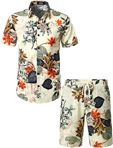 JOGAL Men's Flower Casual Button Down Short Sleeve Hawaiian Shirt Suits X-Large White (Best Casual Outfits For Men)