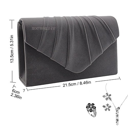 Prom Suede Bag Grey Folds Shoulder Ladies party Clutch Clutch Handbag Wocharm Dark Bag velvet Evening Bridal Womens wqYAxEwv4