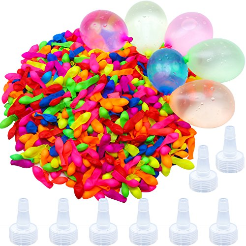 Aneco 1000 Pack Latex Water Balloons Bomb Self-Sealing with 8 Hose Nozzle for Kids Adults Outdoor Water Bomb Fight -