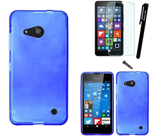 Photo - For Microsoft Lumia 550 Phone Case Soft Plastic TPU Gel Rubber Skin Candy Cover + [WORLD ACC®] LCD Screen Protector+ Stylus+Dust Cap (Blue)