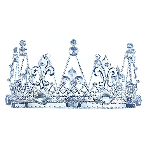 (Men's Pageant Imperial Tiara Full Circle Round Silver King Crown)