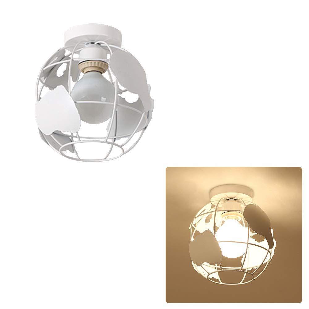 portalampada per soggiorno e corridoio bianco Paralume per plafoniera a forma di mappamondo plafoniera geometrica E27 paralume moderno in filo di metallo