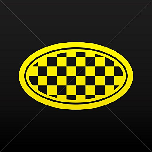 - Stickers Decal Racing Chequered Flag Oval Tablet Laptop Weat Yellow (5 X 2.96 Inches)