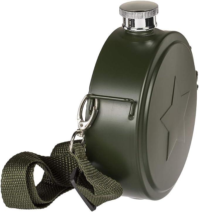 Flachmann Feldflasche mit Schulterriemen Taschenflasche Militär olivgrün