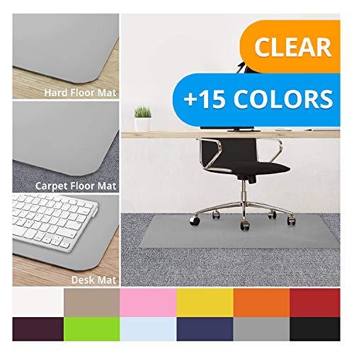 casa pura Office Chair Mats for Carpeted Floors - 30x48 | Carpet Protector Floor Mat, Grey - BPA Free, Odorless | Matching Desk Mats Available