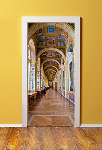 Windowpix 36x80 3D Door (Sticker) Murals - Peel & Stick - Made from Tear-Proof, Washable, Durable Material Versailles Castle Hallway Interior