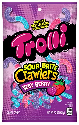 Trolli Sour Brite Crawlers Gummy Candy, Very Berry, 7.2 Ounce Bag, Pack of 8 ()
