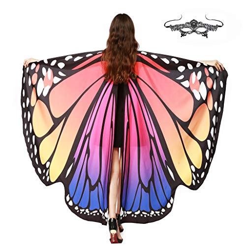 GRACIN Halloween Butterfly Wings Shawl Soft Fabric Fairy Pixie Costume Accessory (Choker Ties, Red&Blue(with Matching mask))