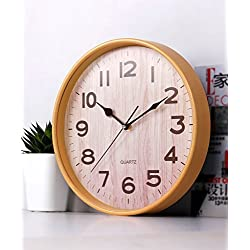 ZHENAI Fashion Creative Arts Mute Living Room Hanging Clocks, Wood Color Personality Simple Bedroom Quartz Clock Office (Color : A 8 Inches)