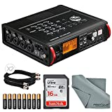 Tascam DR-680MKII Portable Multichannel Recorder Basic Bundle w/ Batteries + Cable+16 GB SDHC and FiberTique Cloth