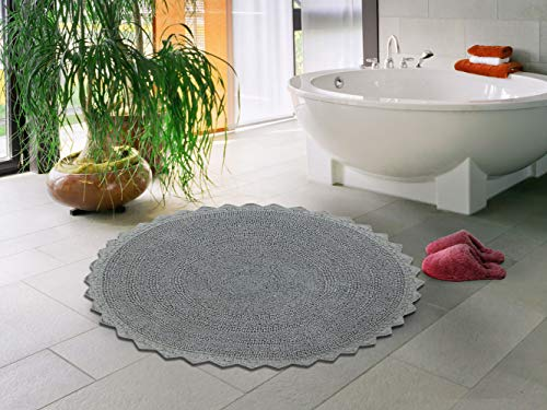 Sheen Décor Full Bloom Collection : Ultra Soft Cotton Banded Bathmat | Reversible Extra Absorbent Machine Washable Round Bathroom Rug (24 Inches Round, ()