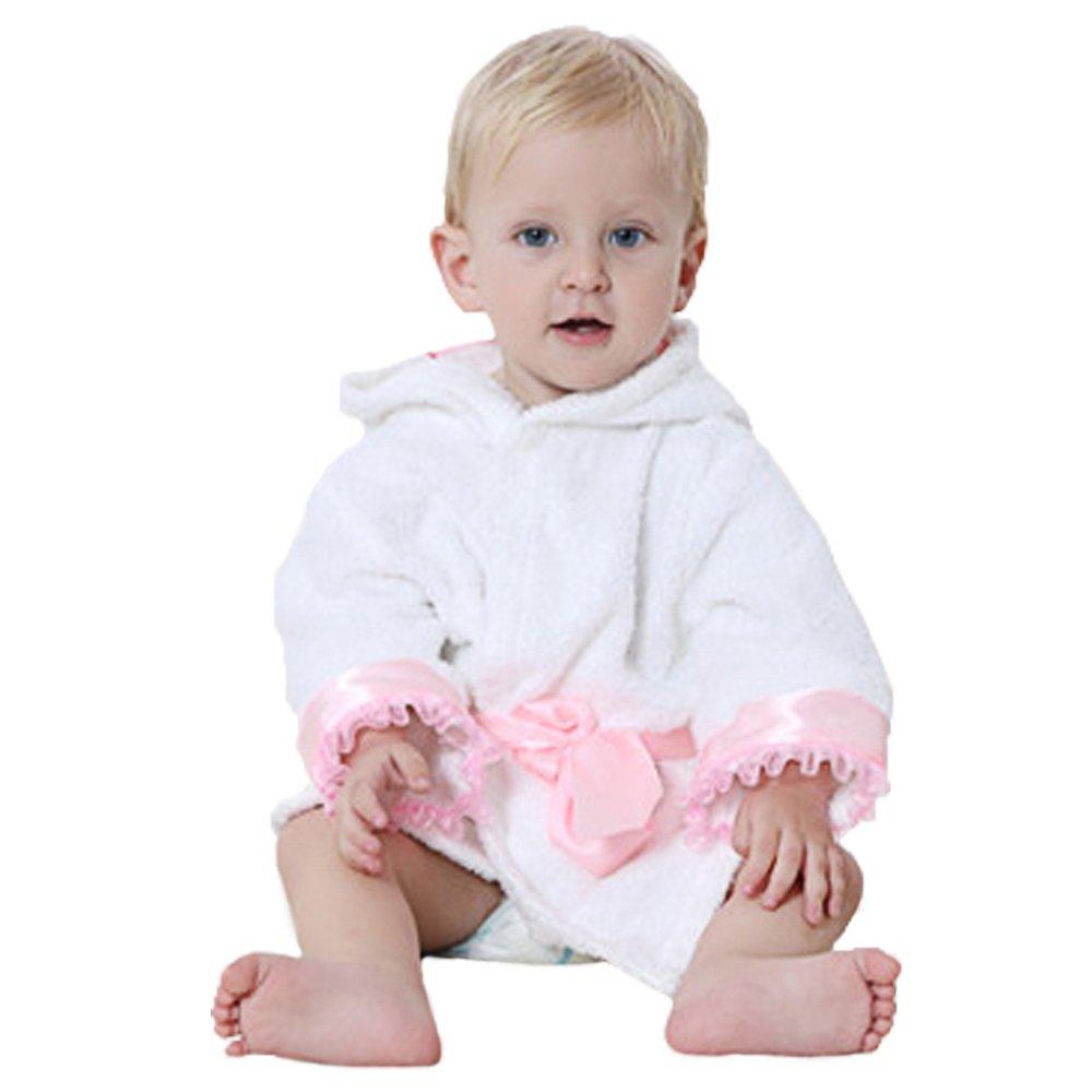 Dingang - Albornoz con capucha para bebé | supersuave y absorbente, con capucha mona, perfecto para bebé 0 a 2 años, color blanco: Amazon.es: Bebé