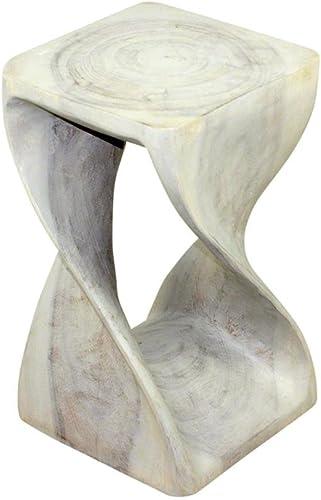 Haussmann Original Wood Twist Stool 12 X 12 X 20 in High Grey Oil