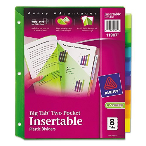 Insertable Avery Pockets (Avery 11907 Two-Pocket Insertable Dividers, Plastic, 8-Tab, Multi-Color)
