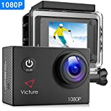 Victure Action Camera Full HD 1080P Underwater 30M Waterproof Cam 12MP Sports Recorder Camcorder with 26 Mounting Accessories, 170° Wide-angle and HDR Photo Technology