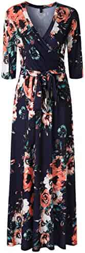 8724db8aeea Zattcas Womens 3 4 Sleeve Floral Print Faux Wrap Long Maxi Dress with Belt