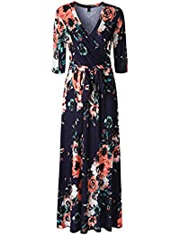 Womens 3/4 Sleeve Floral Print Faux Wrap Long Maxi Dress...