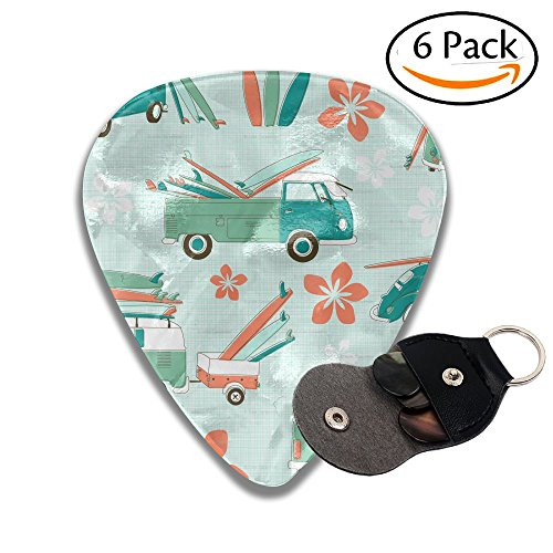 Surfboard Keychain Surf Accessories (Surfboards Pattern Leather Key Chain Pick Holder - 351 Shape Classic Guitar Picks (6 Pack) For Electric Guitar, Acoustic Guitar, Mandolin, And Bass (0.46mm, 0.71mm, 0.96mm))