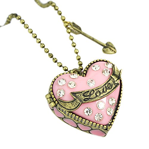 FEEL ON TOP Pink Box Heart Openable Rhinestone Pendent Necklace with Free Jewelry Pouch