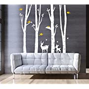 CaseFan Giant Forest Deers Tree Wall Stickers for Kid Baby Nursery Livingroom Background Vinyl Removable Art Mural Wallpaper DIY Decals 94.5x102.4,White