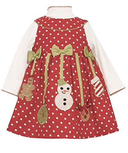 Baby Girls 3M-24M Red/White Polka Dot Holiday Ornament Corduroy Jumper Dress (12 Months, Red)