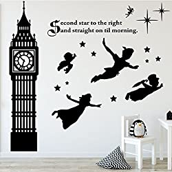 Children's Room Wall Decor - Peter Pan Scene Silhouettes - Disney Themed Vinyl, Vinyl Art Stickers for Kids Room, Playroom, Boys Room, Girls Room - Second Star to the Right and Big Ben Clock Tower