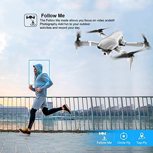 4DRC F3 GPS Drone 4K with FPV Camera Live Video,Foldable Drone for Adults,RC Quadcopter for Beginners,with Auto Return Home, Follow Me,Dual Cameras,Waypoints, Long Control Range,1 Extra Battery+Pack 511LWMxi7jL