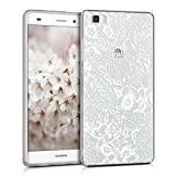 kwmobile Case for Huawei P8 Lite (2015) - TPU Silicone back cover case mobile phone protective case - Clear cover Sea of Flowers white transparent