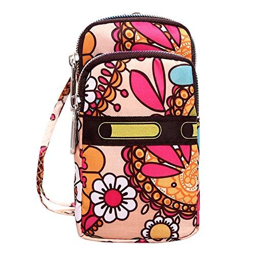 Wristlet Water Small Shoulder Wocharm Resistant Crossbody Nylon Flower Bags Bags Sun Womens q0SwFUAI