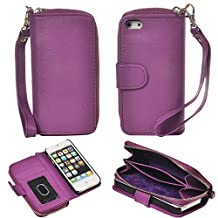 ABC® Magnetic Zip Leather Card Case Cover Flip Wallet for iPhone 5 5G 5S (Purple)