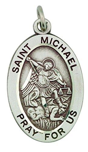 - HMHReligiousMfg Sterling Silver Patron Saint Michael Pray for Us Pendant, 1 1/16 Inch