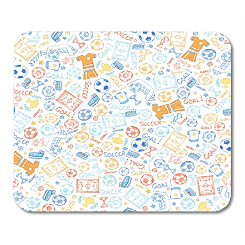 SHAQ Gaming Mouse Pad Doodle Soccer Sports Seamless Pattern Vector Trophy Sketch Stars Uniform 8.6 X 7.1 Decor Office Nonslip Rubber Backing Mousepad Mouse Mat