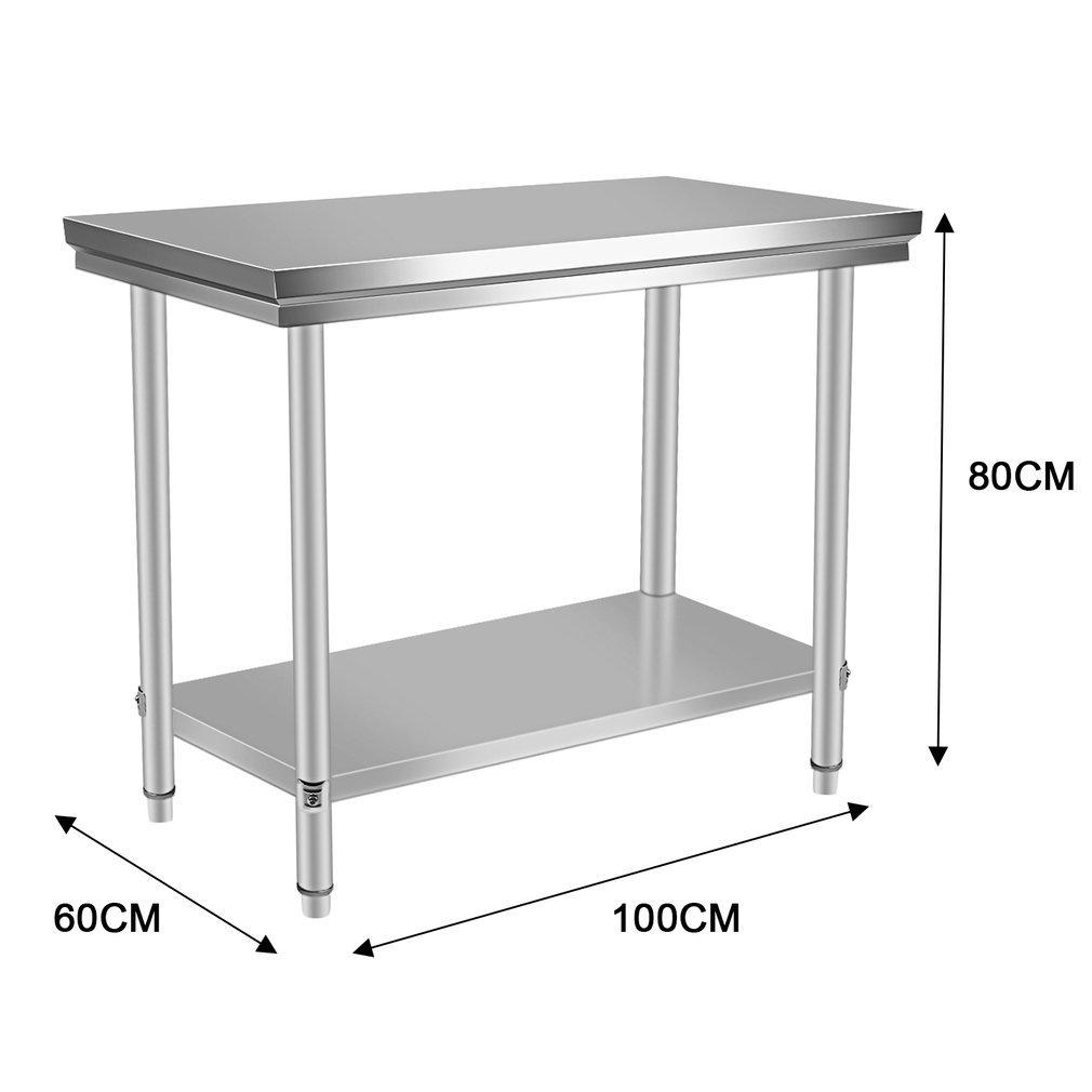 Acero inoxidable trabajo para mesa de hostelería 100 x 60 x 80 cm ...